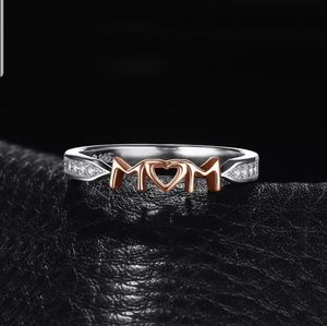 Sterling Sliver 925 Rose Gold Diamond Mom Ring